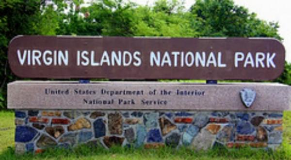 Virgin Islands National Park sign St John USVI
